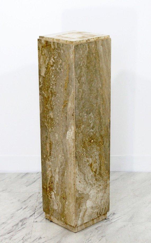 Mid Century Modern Travertine Marble Display Pedestal Made In Italy 1970s Midcentury Modern Display Pedestal Travertine Marble