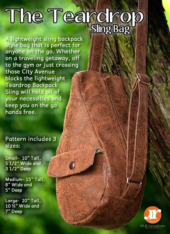 The Teardrop Sling Bag- 3 sizes included | Bag, Sew bags and ...