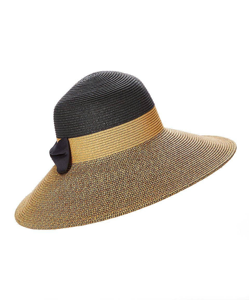 14f6dade0df Take a look at this Black Color Block Bow-Accent UPF 50+ Sunhat today