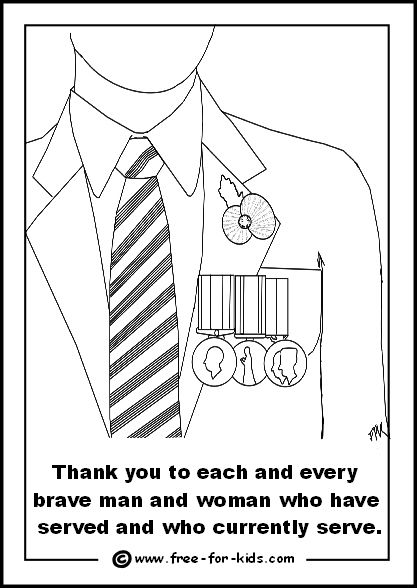 Veterans Day Medal Coloring Page
