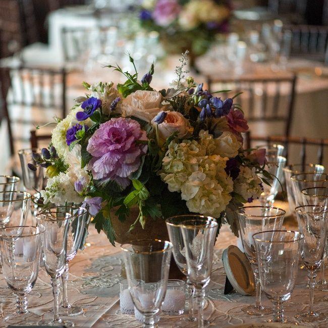 Low Purple & White Centerpiece // Robert Norman Photography // Hana Floral Design // http://www.theknot.com/weddings/album/a-vintage-vineyard-wedding-in-stonington-ct-133895