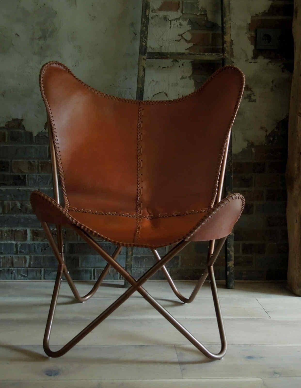Cognac Leren Bureaustoel.Vlinderstoel Leer Cognac Bruin Industrieel Ontwerp Huizen Stoel