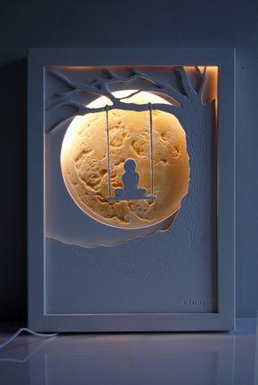 veilleuse d corative pour chambre d 39 enfants mat riaux bois acrylique clairage led 12 v. Black Bedroom Furniture Sets. Home Design Ideas