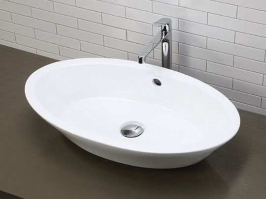 Large Deep Oval Vitreous China Vessel Sink With Overflow Ceramic White Sink Bathroom Improvements Vessel Sinks