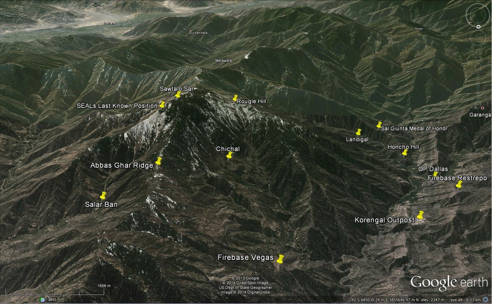 Map Of Korengal Valley Afghanistan Fob Kalagush Sawtalo Sar As