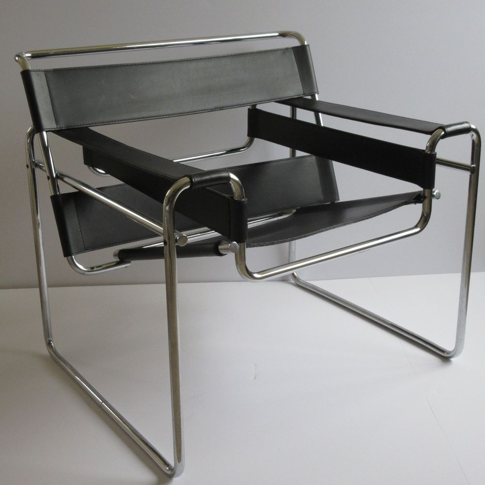 vintage knoll wassily chair leather chrome marcel breuer modern