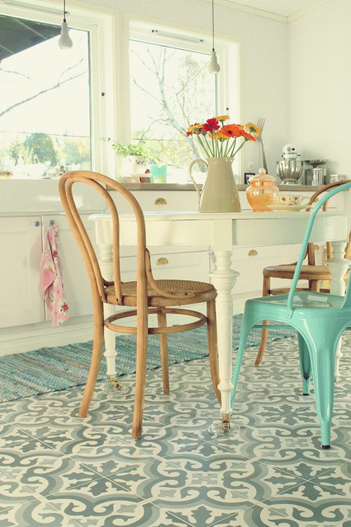 white, turquoise and orange in kitchen decorating