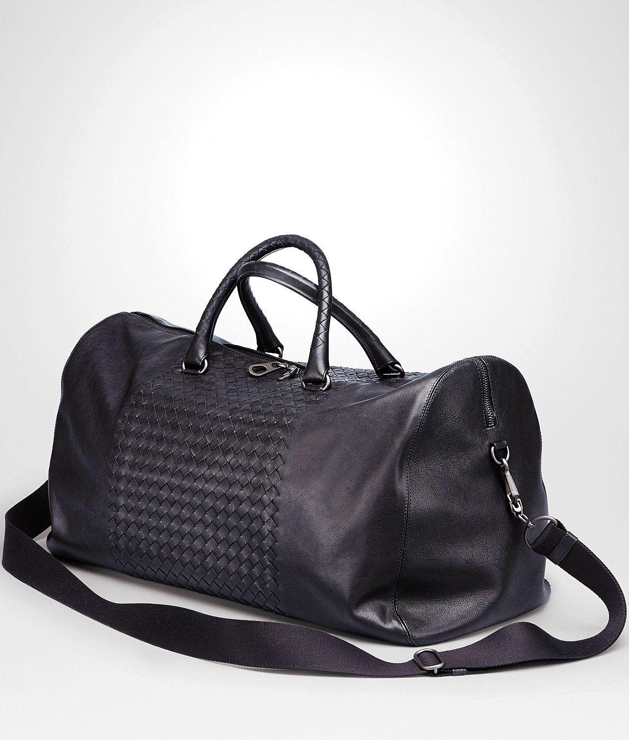 52f6cca53ea19 Bottega Veneta Nero Intrecciato Washed Nappa Duffel Bag  fashionbag ...