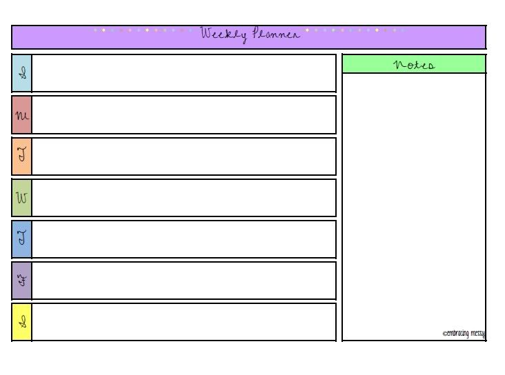 Free Printable Friday  Weekly Planner  Organize Me
