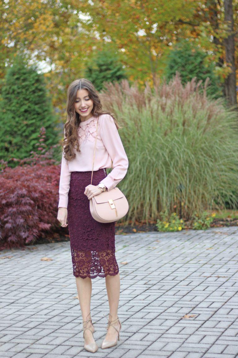 3517fc2c7515 Lace Pencil Skirt + Blush Top | Autumn Style | Burgundy skirt, Skirt ...