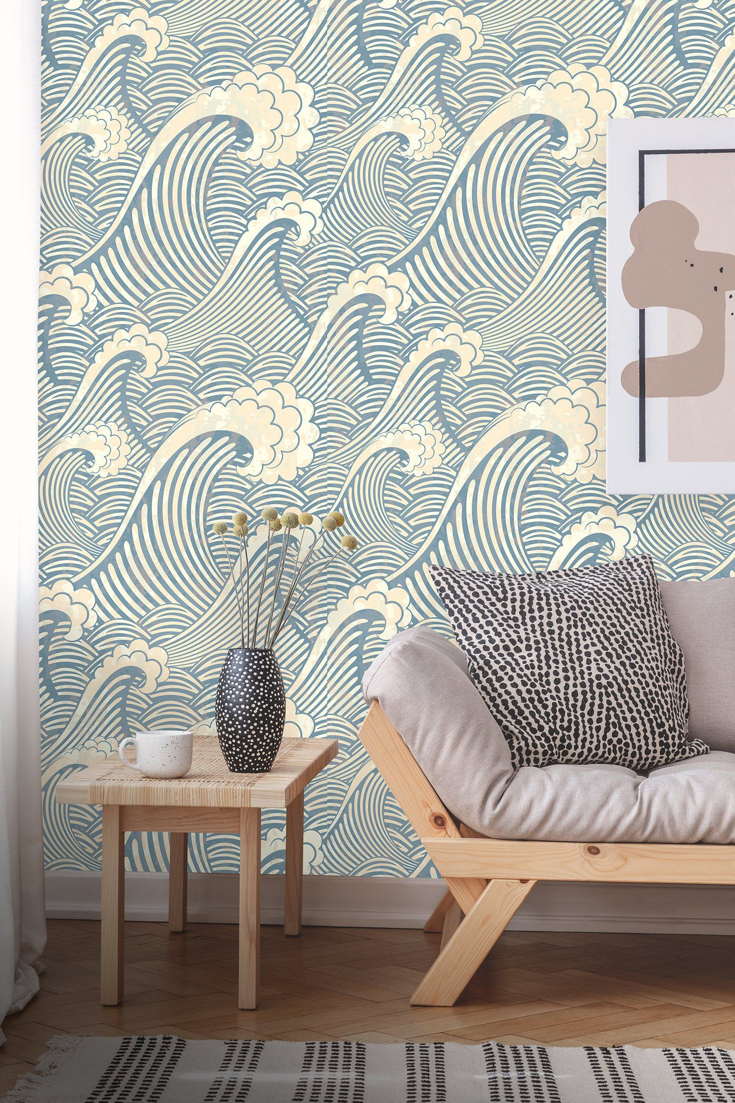 Removable Wallpaper Peel And Stick Great Wave Pattern Etsy In 2020 Removable Wallpaper Waves Wallpaper Wall Wallpaper