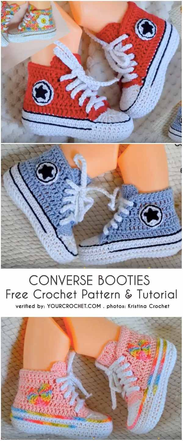 Baby Converse Booties Free Crochet Pattern and Tutorial -   20 knitting and crochet baby booties ideas