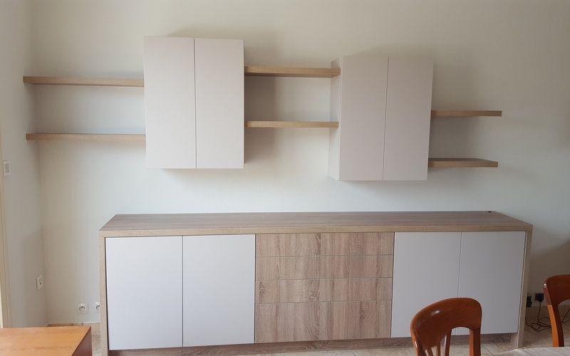 meuble sur mesure pour living room avec vaisselier, tablettes et - Meuble Tv Avec Rangement