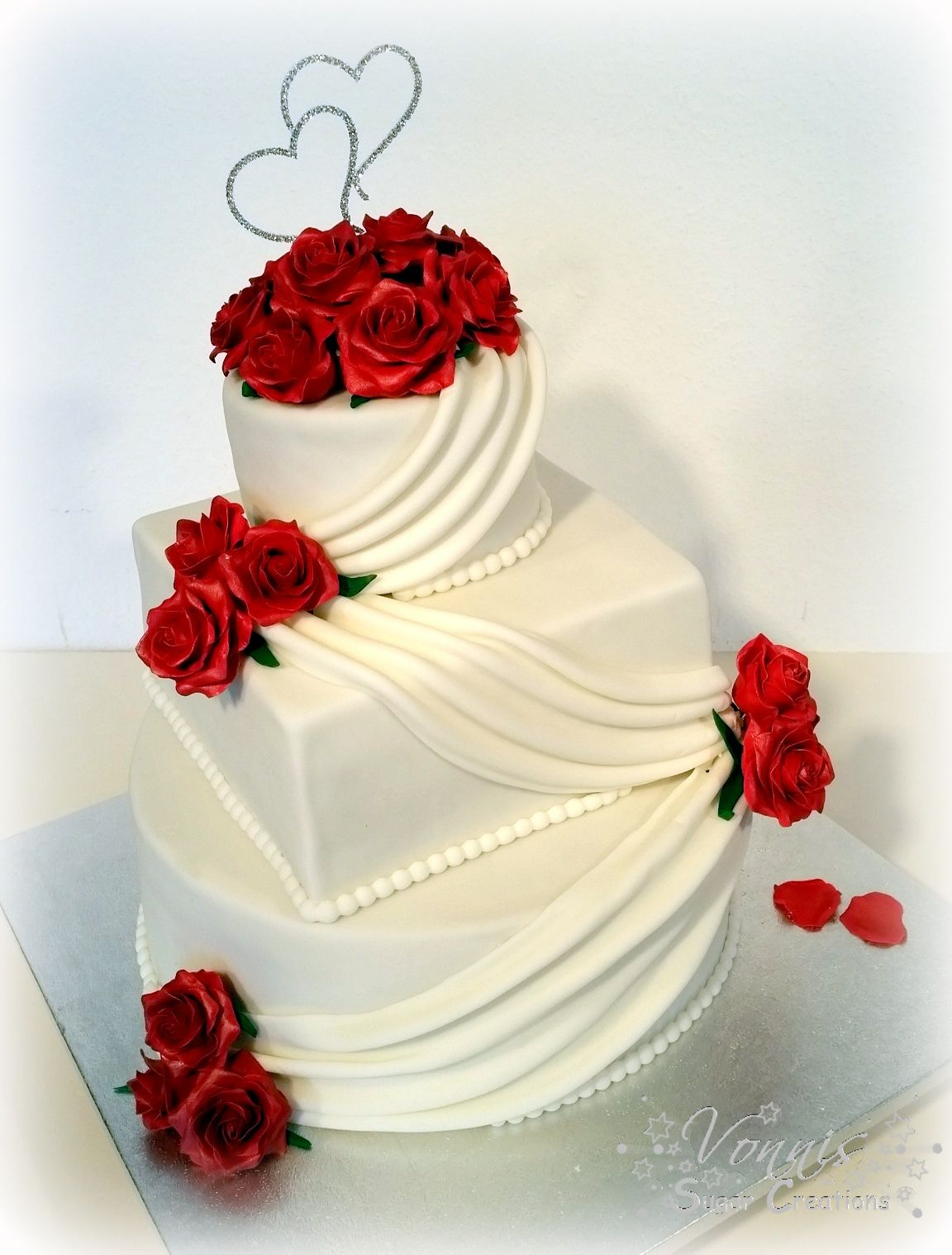 Wedding Cake White Red Roses 3 Tier Layer Classic Fondant Flower
