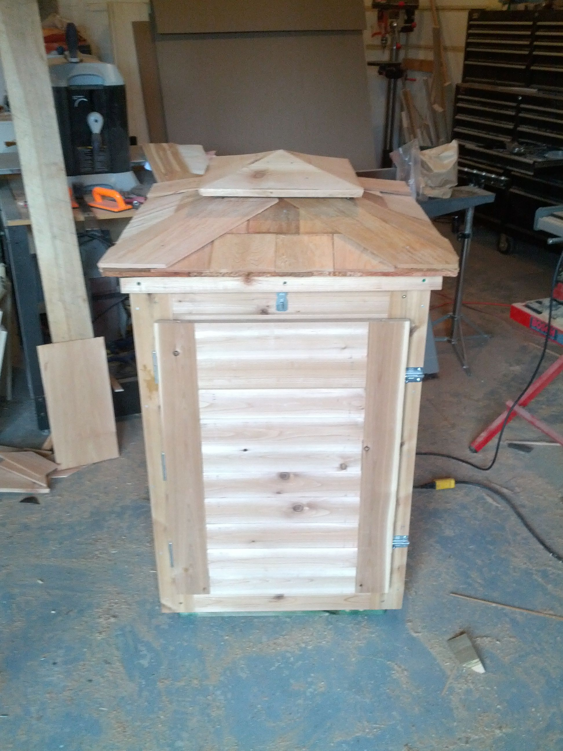 Custom Made Cedar Smoker Cabinet With Roof Venting, Tile Lined