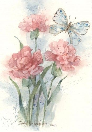 Butterfly With Carnations 5x7 Watercolor Carnation Drawing Flower Drawing Floral Watercolor
