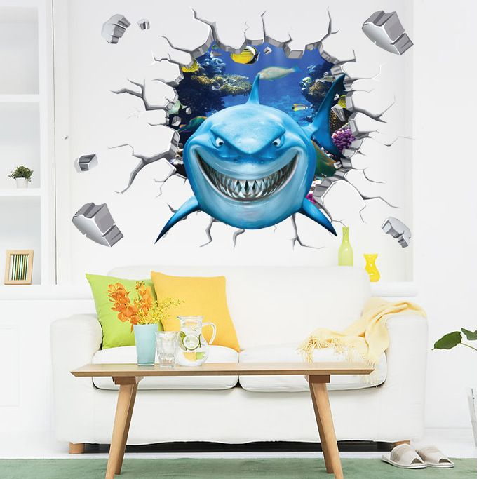 Charmant Cartoon Shark 3D Wall Sticker Cracked Wall Shark Wall Decals For Living  Room Bedroom DIY Creative