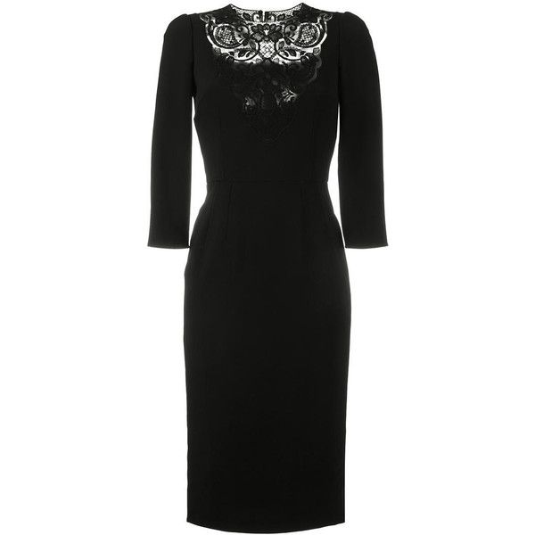 Dolce & Gabbana Lace-Insert Fitted Dress (10.485 BRL) ❤ liked on Polyvore featuring dresses, black, fitted summer dresses, knee length cocktail dresses, knee length evening dresses, evening dresses and knee length dresses