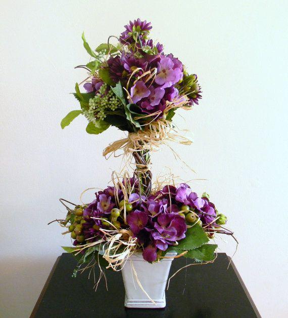 Purple Topiary Arrangement, Spring Floral Arrangment, Flower Arrangement, Table Decor