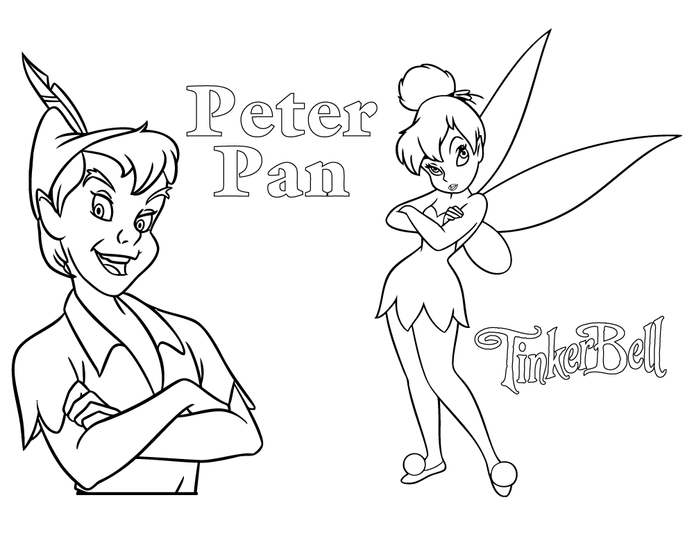 Coloriage peter pan et f e clochette coloriages de - Fee clochette gratuit ...
