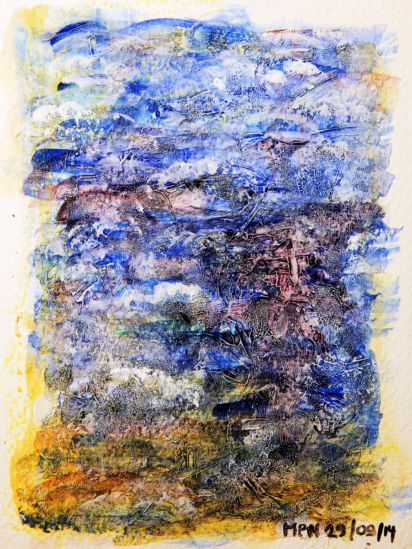 The Sea 01 A Fog Is Moving In Abstract Watercolor Paper Painting