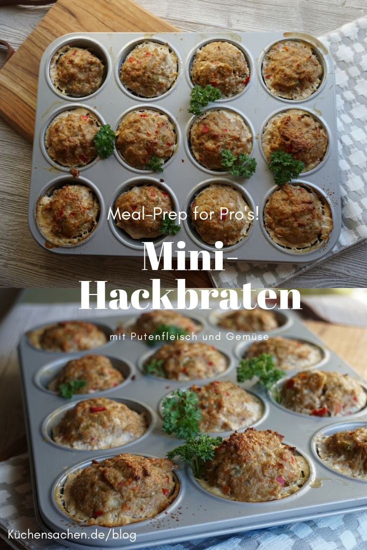 Meal-Preppers aufgepasst! Mit diesen Mini-Hackbraten aus der Muffinform habt Ihr vorgesorgt! Schnell gebacken und perfekt portioniert - diese Mini-Hackbraten aus Pute sind die perfekte Wahl, wenn es ums Vorkochen geht. #küchensachen #Hackbraten #Rezept #mealprep