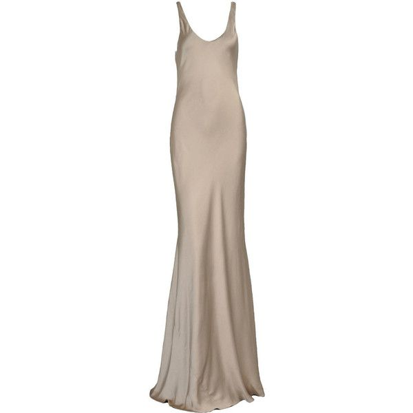 Pre-owned Ralph Lauren Collection Purple Label Golden Silk Evening... ($975) ❤ liked on Polyvore featuring dresses, gowns, long dresses, evening dresses, vestidos, evening gowns, silk slip, skater skirt, purple ball gown i purple dress