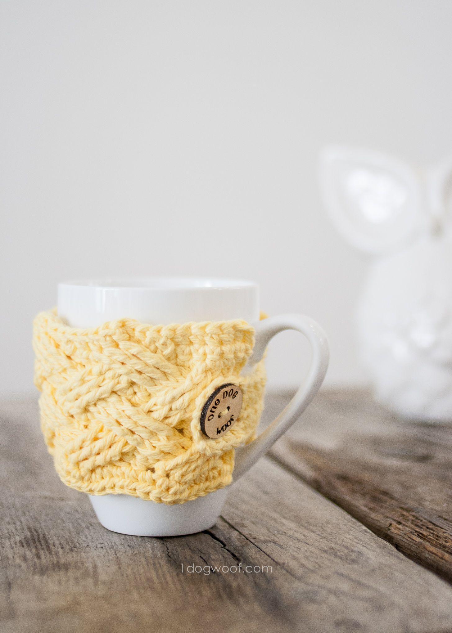 Woven Cables Mug Cozy Crochet Pattern | Vasos, Labores y Tejido