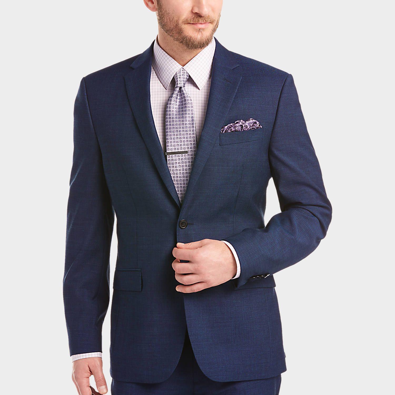 Buy a JOE by Joseph Abboud Blue Stripe Slim Fit Survival Suit and ...