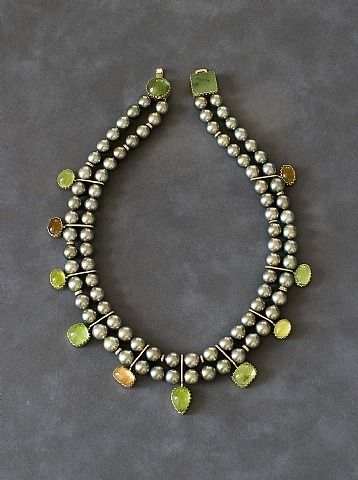 Necklace | Yazzie Johnson and Gail Bird. Pistachio Tahitian pearls and gemstones