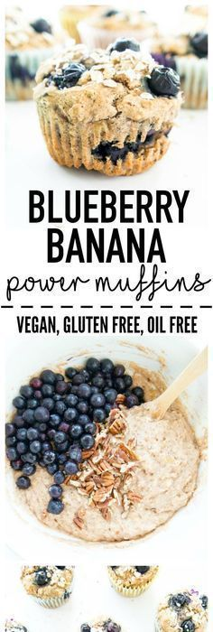 Blueberry Banana Power Muffins - Dessert - Banana Power Muffins - Dessert -