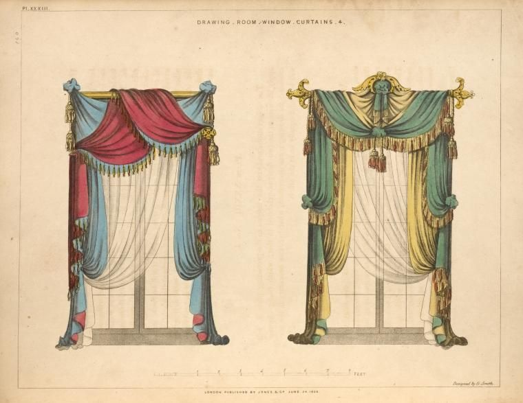1826 Drawing Room Window Curtains George Smith Upholsterer To His Majesty