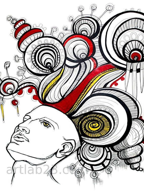 Dreaming Man Art Print 8x10 Psychedelic Drawing Ink By