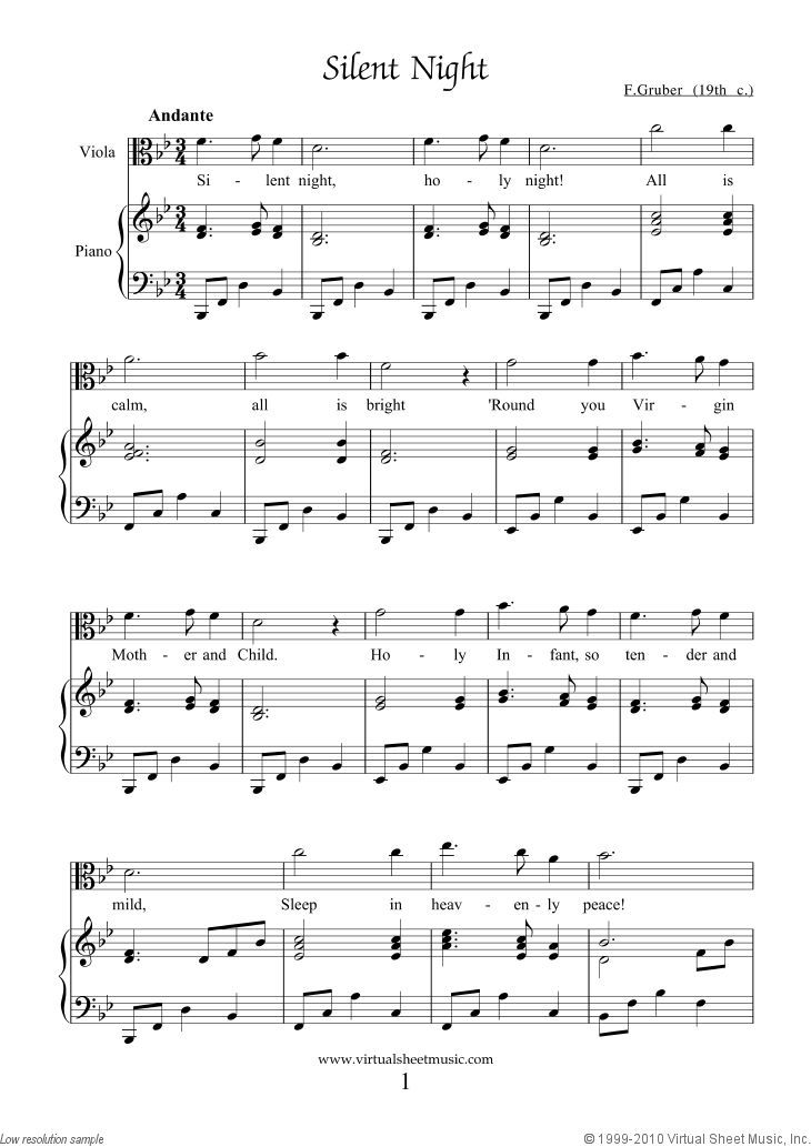Gruber - Silent Night free PDF sheet music file for viola and - music staff paper template