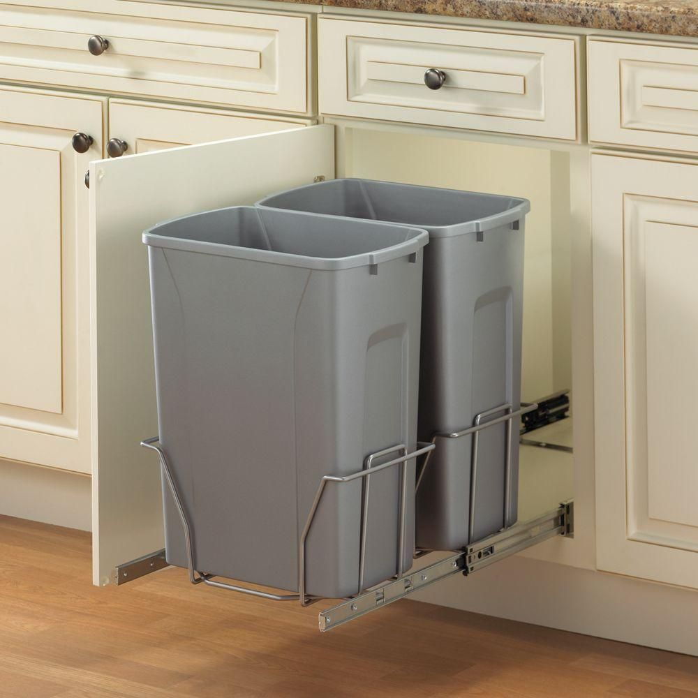 Knape Vogt 18 75 In X 14 38 In X 22 57 In In Cabinet Pull Out Trash Can Psw15 2 35 R P At The Hom Trash Can Cabinet Kitchen Trash Cans Pull Out Trash Cans