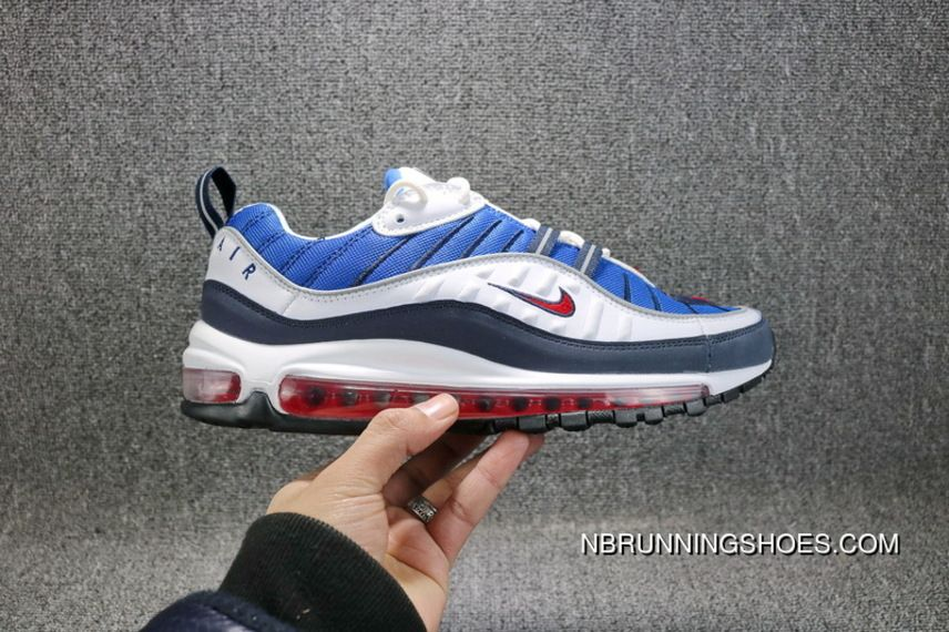 super popular 767e6 75bb2 Nike Air Max 98 Gundam 640744-100 Running Shoes White University  Red-Obsidian Discount