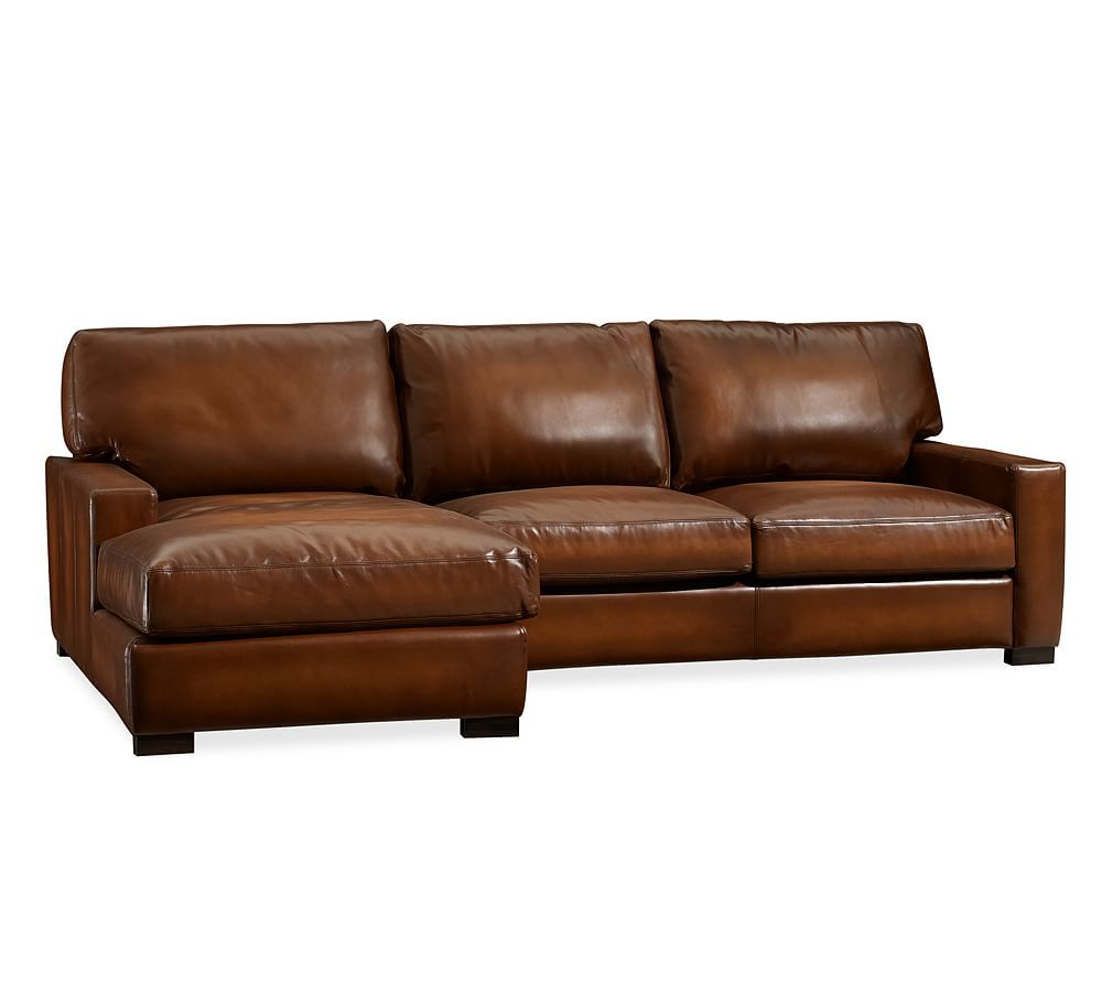 Turner Square Arm Leather Right Arm Sofa With Chaise Sectional Polyester Wrapped Cushions Vintage Caramel At Pottery Barn Leather Chaise Sofa Couch With Chaise Sofa