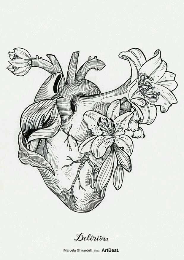 Human Heart Tattoo, Heart Flower Tattoo, Heart Drawings, Tattoo Drawings,  Body Art a3aac5d30d