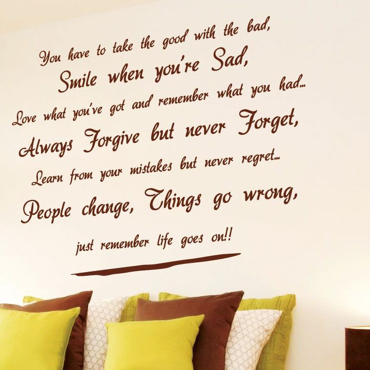 Wall Art Stickers Quotes life goes on wall art quotes wall stickers wall decals wall mural