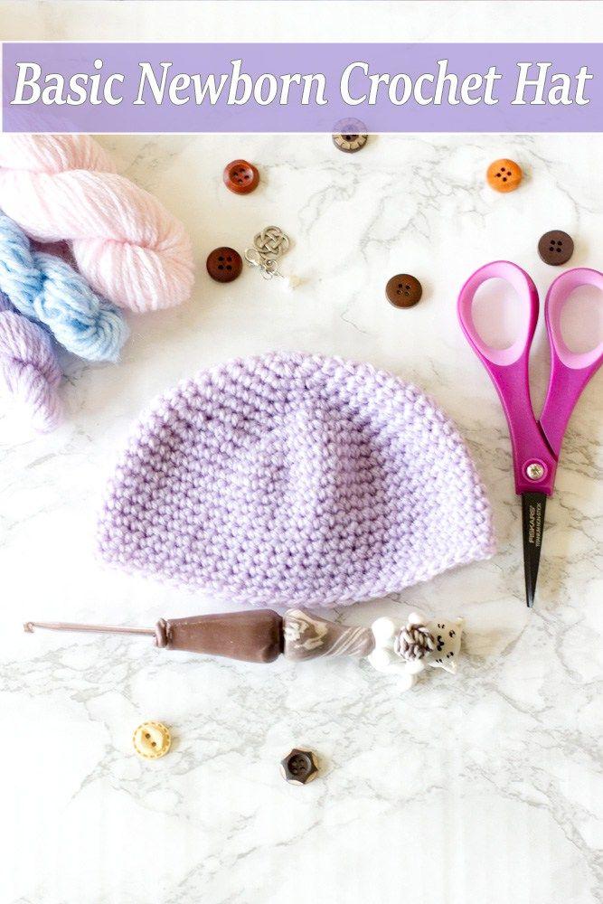 Basic Newborn Crochet baby Hat Free Pattern | Gorro tejido y Tejido