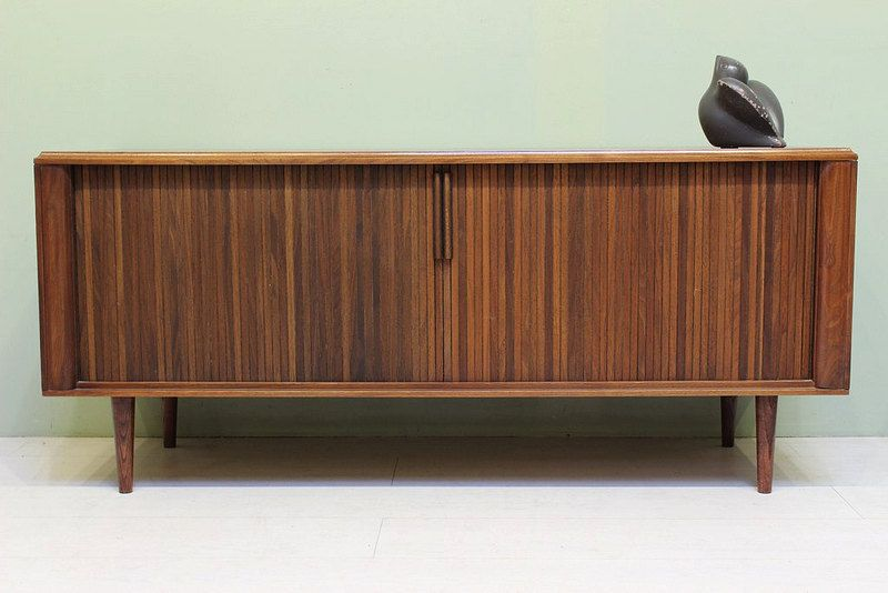 Mid Century Modern Credenza 1960s Barzilay Walnut Low Buffet W Tambour Doors Vintage With Images Mid Century Modern Credenza Mid Century Furniture Midcentury Modern