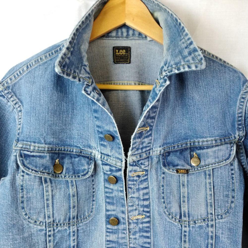 Sanforized Denim Vtg Jean Jacket Lee Brand Coat Sz Lg Union Made Usa Distressed Lee Denim Jacket Denim Jacket Men Jeans Coat Jackets [ 1000 x 1000 Pixel ]