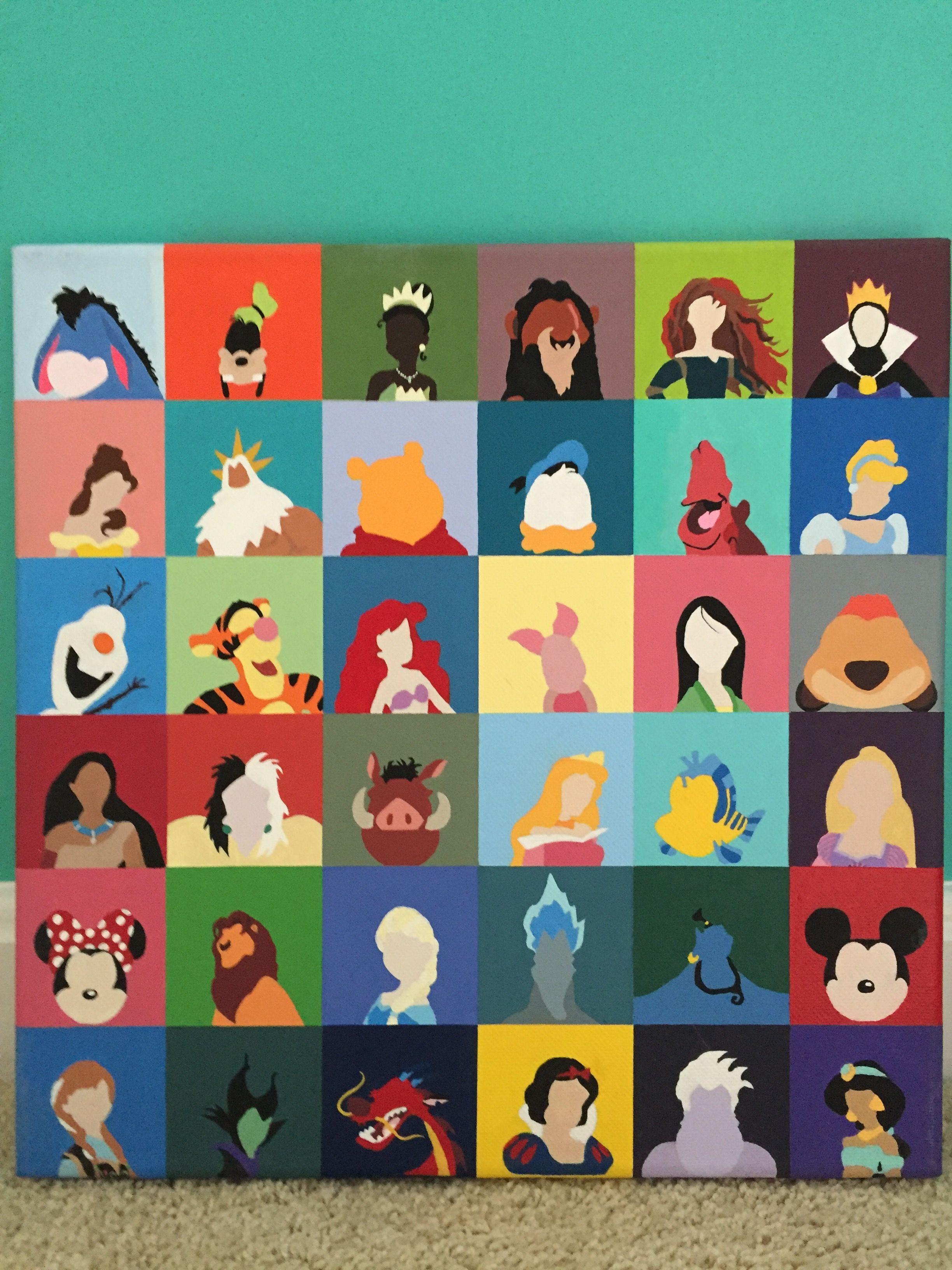 Painting Disney Character Canvas Canvases Eeyore, Goofy, Tiana, Scar, Merida,