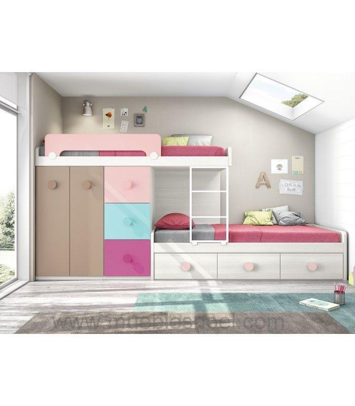 Muebles literas con camas juveniles con colores alegres - Literas con armario ...
