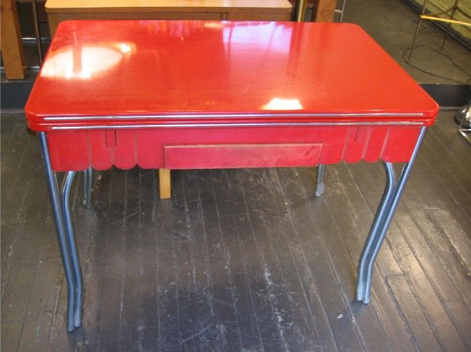 1950 S Red Enamel Draw Leaf Kitchen Table Sold White Trash Nyc