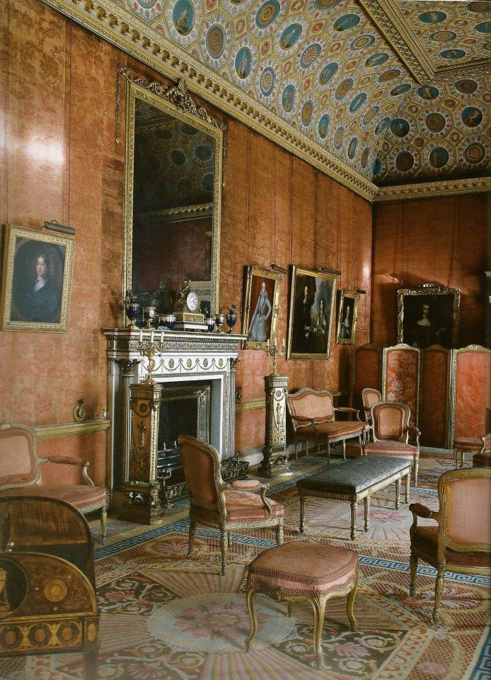 Inside House Drawing: The Red Drawing Room At Syon House, Late 18th Century And