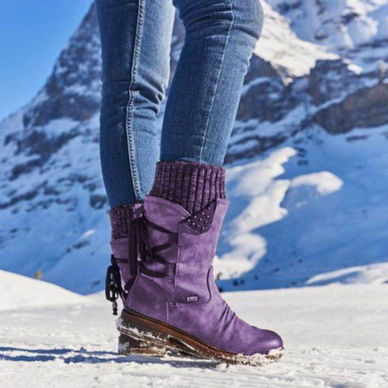Womens Cowboy Mid Calf Boots Ladies Winter Snow Knit Flat Low Heels Shoes Size