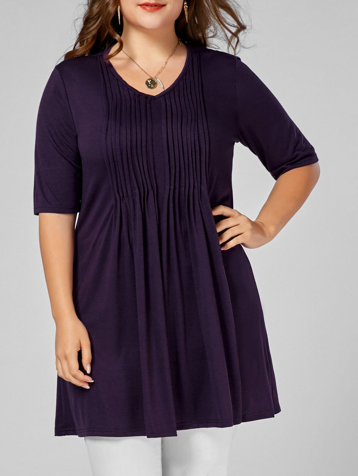 dcdac53d2a9 Plus Size V Neck Tunic Tee