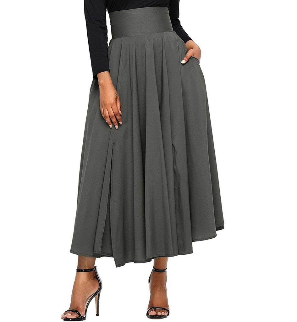 92078f01e713 FIYOTE Women High Waist Front Slit Belted Casual A-Line Pleated Midi Skirt  Dresses S-XXL