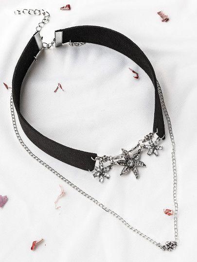 6f221720626a Gargantilla de terciopelo con flor de apliques cristales - negro ...